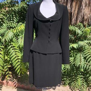 Tahari 2 Piece Career Black Lace Skirt Suit SZ 10